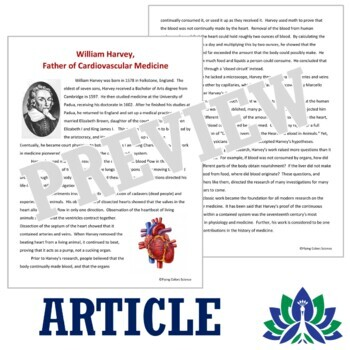 Circulatory System Scientist Biography w/Questions Middle School NGSS MS-LS1-3