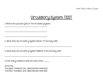Circulatory System Study Guide & Test