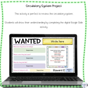 Circulatory System Wanted Poster Project Activity