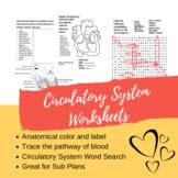 Circulatory System Worksheets.