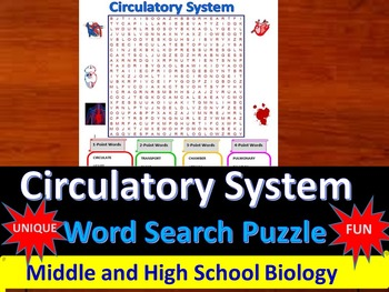 Circulatory System -  a fun & unique Word Search Puzzle (Grades 7-12)