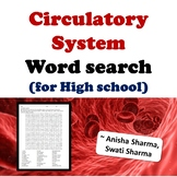 Circulatory System, Word search for High school