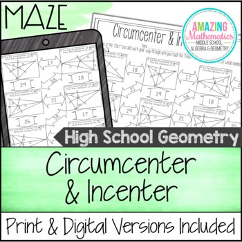 circumcenter incenter maze by amazing mathematics tpt. Black Bedroom Furniture Sets. Home Design Ideas