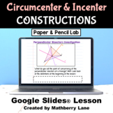 Circumcenter and Incenter Geometry Digital Lesson