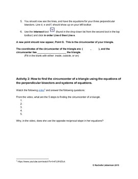 Circumcenter of a Triangle Web Investigation