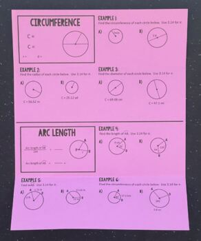 Circumference & Arc Length (Geometry Foldable)