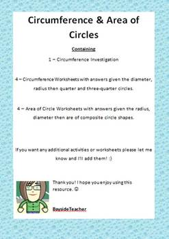 Circumference & Area of Circles - 8 worksheets with Answers