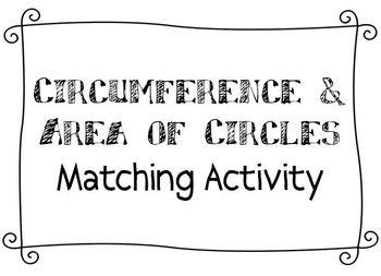 Circumference & Area of Circles Matching Activity