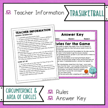 Circumference and Area of Circles Trashketball Math Game Pi Day