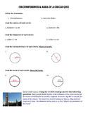 Circumference & Area of a Circle Quiz