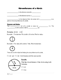 Circumference, Diameter, and Radius Review Packet