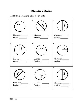 Circumference, Diameter, and Radius Review Packet