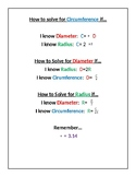 Circumference Equations Anchor Chart
