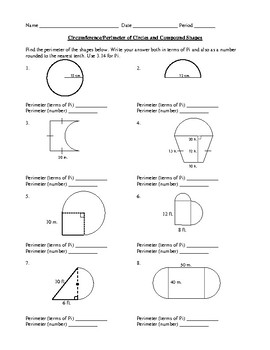 Circumference & Perimeter Circles & Compound Shapes Geometry Worksheet