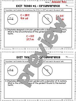 Finding Circumference of Circles - Quick Checks