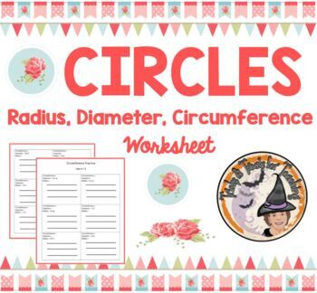 Circumference Radius Diameter Circle Pi = 3 Formula Circles Practice Worksheet