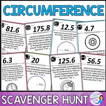Finding Circumference of Circles Scavenger Hunt Activity