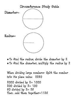 Circumference Study Guide