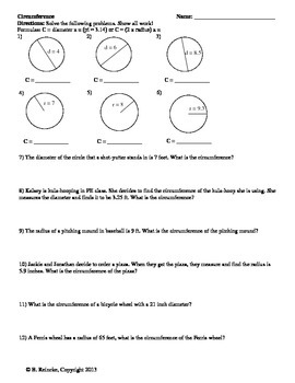 Circumference Worksheet for Practice