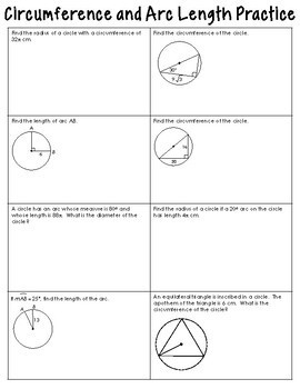 Circumference and Arc Length Foldable