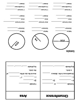 Circumference and Area Foldable - Fill In the Blank