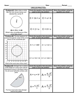 Circumference and Area: Match the Formula
