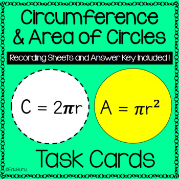Circles Area and Circumference Task Card Pack
