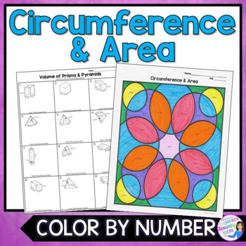 Circumference and Area of Circles Color-By-Number Worksheet