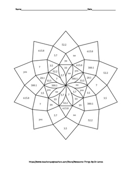 Circumference and Area of Circles Color by Number