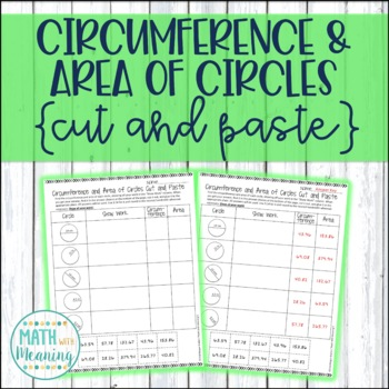 Circumference and Area of Circles Cut and Paste Activity