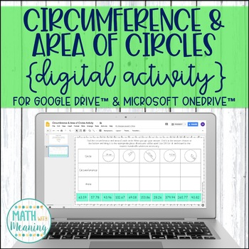 Circumference and Area of Circles DIGITAL Drag & Drop Activity for Google Drive™