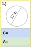 Circumference and Area of Circles Digital Drag and Drop Activity