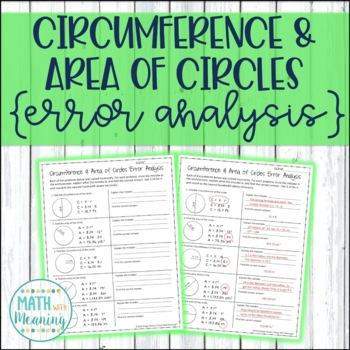 Circumference and Area of Circles Error Analysis
