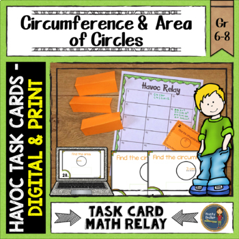 Circumference and Area of Circles Havoc Relay Pi Day Middle School