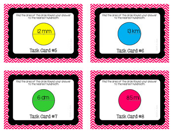 Circumference and Area of a Circle Task Cards Bundle
