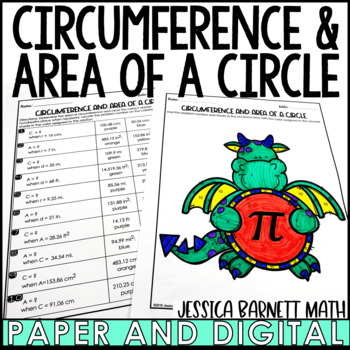Circumference and Area of a Circle Coloring Page Activity