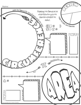 Circumference and Area of a Circle Doodle Notes