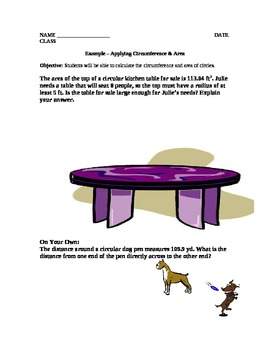 Circumference and Area of a Circle Lesson Plan