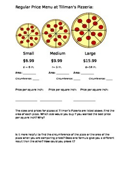 Circumference and Area of a Circle: Pizza Task