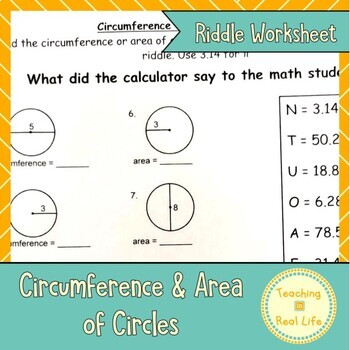 Circumference and Circle Area Riddle Page