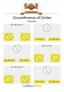 Circumference of Circle 2 - Circle the equation - Gr 6