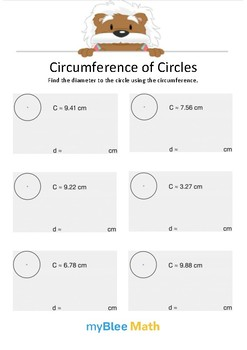 Circumference of Circles 6 - Find the diameter - Gr 6