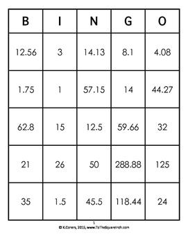 Circumference of Circles Bingo
