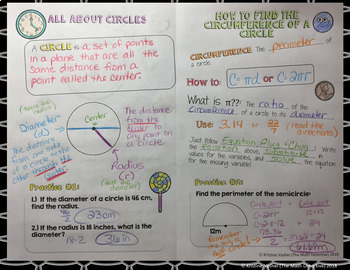 Circumference of Circles - Doodle Note Brochure for Interactive Notebooks