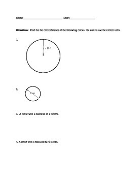 Circumference of Circles Homework
