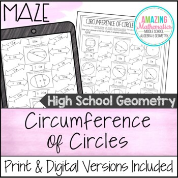 Circumference of Circles Maze - Using Inscribed & Circumsc