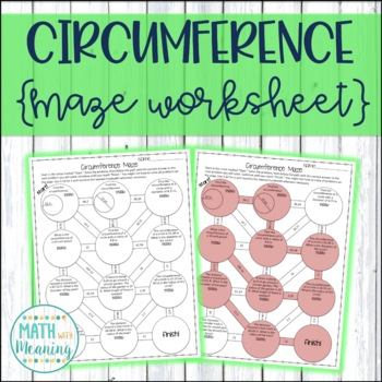 Circumference of Circles Maze Worksheet - Aligned to CCSS 7.G.B.4