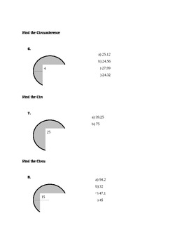 Circumference of Circles Worksheet