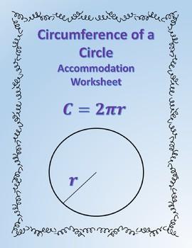 Circumference of a Circle: Formula Accommodations Template