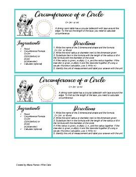 Circumference of a Circle-Recipe Card